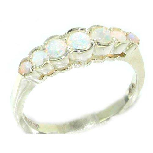 Damen Ring 9 Karat (375) Weißgold mit Opal - Größe 64 (20.4) - Verfügbare Größen : 50 bis 64