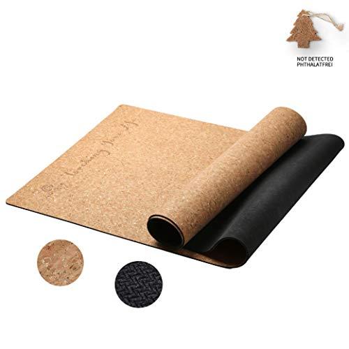 GOLDEN® Kork Yogamatte/Yogamatte aus Kork und Kautschuk, rutschfest/Fitnessmatte/Sportmatte für zuhause, XL 183cm*66cm*4.0mm