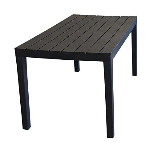 Wohaga Campingtisch 'Sumatra' Tischplatte in Holz-Optik Vollkunststoff Anthrazit - 138x78xH72cm