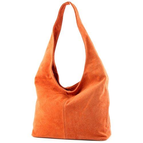 modamoda de - T150 - ital Schultertasche aus Leder Wildleder, Farbe:Orange
