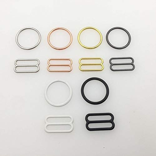ABOO 10 Sets/Lot (20 Pcs) Bra Rings And Sliders Strap Buckles 6 Color Underwear Adjustment Accessories