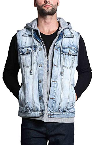 Victorious Layered Hooded Denim Jean Vest Jacket DK110 - Layered Ice - Large - GG1G