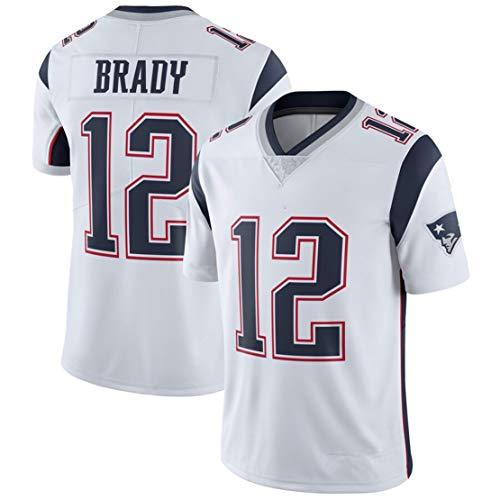 Carrey NFL Trikot, Fußballtrikot, Fanversion Jersey, besticktes Logo, Polyester T-Shirt, Ärmel, Polo-Trikot, Trainingskleidung Gr. M, Weiß 12#