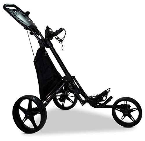 3-Rad Golf Push Trolley Tour Made RT-140 Pushtrolley Golftrolley 3-rad (schwarz)