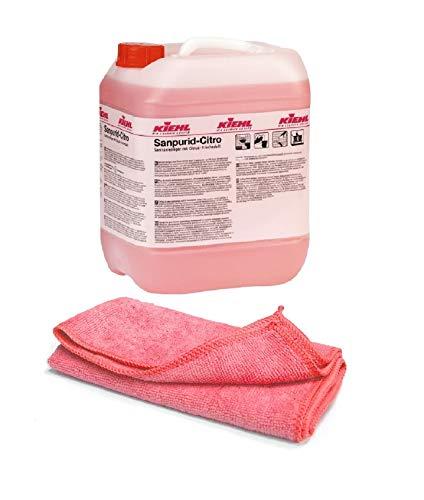Sanitärreiniger - Kalklöser - Badreiniger - WC Entkalker - Urinsteinlöser - Pissoir Reinigungsmittel | mit Profi Mikrofasertuch rot (1 Kanister=10Liter)