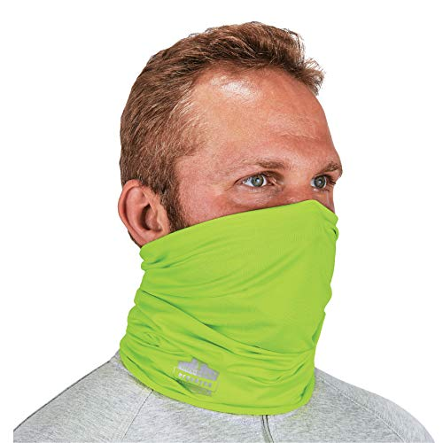 Ergodyne - 42127 Chill-Its 6487 Cooling Neck Gaiter, Multiple Ways to Wear Headband or Face Mask,Lime Hi-Vis Lime