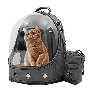 Pet Carriers Backpacks Bubble Bag, Premium Space Capsule Cat Dog Carrier Backpack Travel Bag kitten doggy Back pack for Traveling Hiking Camping outdoor use, Award Pet Treat Pouch, Grey