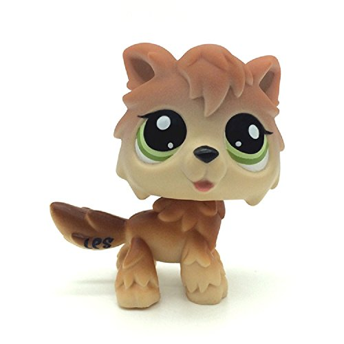 #2141 Rare Wolf Brown Tan Husky Timberwolf Green Eyes Dog LPSLpss plmxsmx