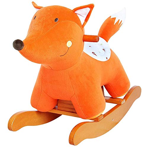 labebe - Baby Rocking Horse, Infant Wooden Rocking Animal, Kid Ride On Toy, Toddler Rocker for 1-3 Year Old, Outdoor&Indoor Ride Along Toy, Plush Rocking Horse for Child, Girl&Boy Birthday Gift - Fox