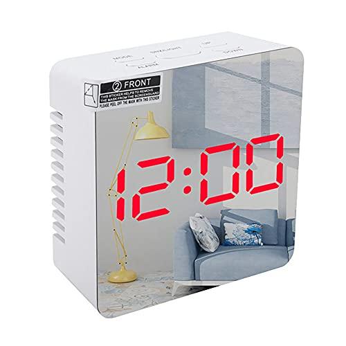 Wege - Reloj electrónico con LED con espejo, despertador digital, pantalla de la temperatura, decoración de la casa moderna, 7