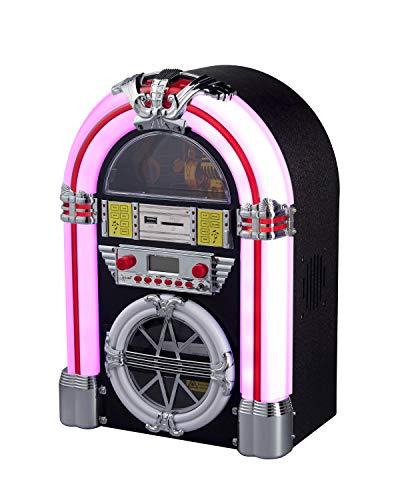 NEWTRO Jukebox - Equipo estéreo con CD/CD-R/CD-RW/MP3, radio FM/FM, USB/SD,...