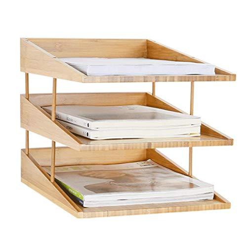 Bamboe Multi-Layer Verticale Boekenkast Office Desktop Bamboe Houten Opslagrack, A4 Papier Folder Opbergdoos 3 Tiers