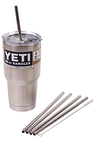4 WIDE Stainless Steel Straws + Straw hole LID Extra LONG fits 30 oz Yeti Tumbler Rambler Cups - CocoStraw Brand Drinking Straw (4 WIDE straws + Straw Lid)