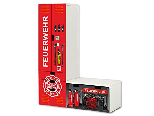 Feuerwehr Aufkleber-Set - SL20 - passend für die Kinderzimmer Aufbewahrungskombination STUVA von IKEA (L-Form) - Bestehend aus Schrank, Kommode mit 3 Fächern und Banktruhe - Möbel Nicht Inklusive | STIKKIPIX