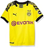 PUMA Youth BVB Home Shirt Replica Jr with Evonik OPEL Logo, Cyber Yellowpuma Black, L