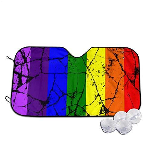 YJWLO Crack LGBT Homo Regenboog Vlag Auto Voorruit Opvouwbare UV Ray Reflector Auto Voorruit Raam Cover Zon Visor Protector Met Twee Maten Medium Kleur: wit