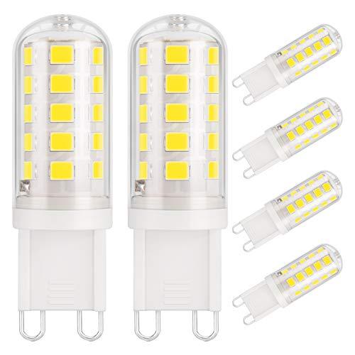 DiCUNO Lampadina LED G9 3W, 430LM, Equivalente 40W alogeno, Bianco freddo 6000K, 220-240V, CRI 85, NON dimmerabile, Risparmio energetico, Base in ceramica, Base standard G9, 6 Pezzi