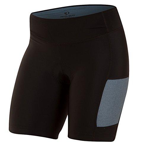 PEARL IZUMI Women's Select Escape Shorts, Black/Blue Steel Herringbone, Large
