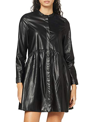 ONLY Damen ONLCHICAGO Faux Leather Dress PNT Lässiges Abendkleid, schwarz, 38