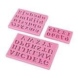 Gcroet3D Lettera Inglese e della Decorazione della Torta Numero Modellato la Muffa della Torta del Silicone del Fondente della Muffa Strumenti 3 PCS-Pink