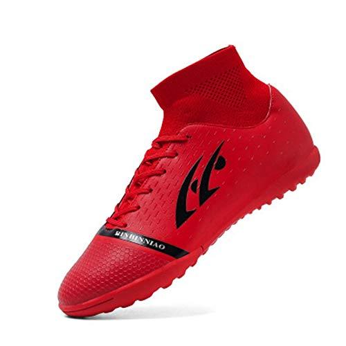 Zapatos de fútbol Hombre Uñas rotas Estudiantes de Primaria Niños Adolescentes Niños Zapatos de Entrenamiento de Hierba Artificial Transpirables Rojo 36 3.5