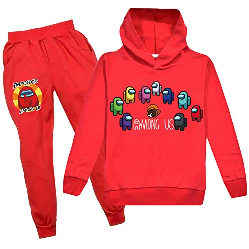 Kids Among us Hoodie and Sweatpants Suit Boys Girls Tracksuit 2 Piece Outfit Sweatsuit(Among us Red 130(7-8 Years ))