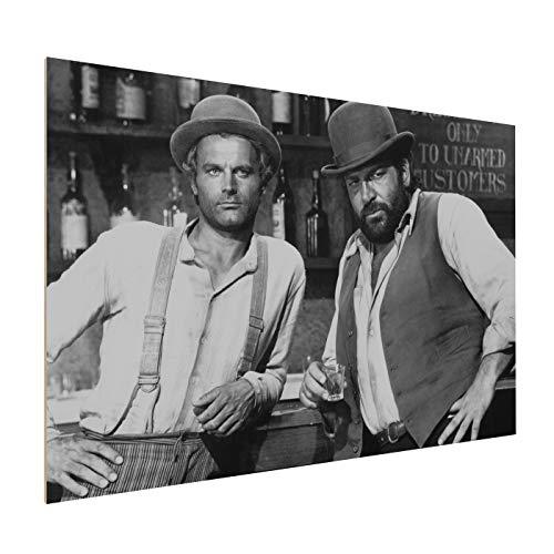 Terence Hill Bud Spencer Holzdruck - Der müde Joe und Der Kleine - Vier Fäuste für EIN Halleluja (60 x 40 cm)