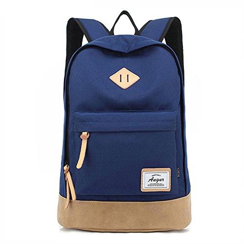 Wasserdicht Schulrucksack Jungen Mädchen Daypack Canvas Rucksack Damen für 14-15.6 Zoll Laptop A4 Ordner Teenager Uni Camping Outdoor Sport mit Laptopfach (Blau)