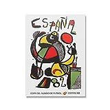 DuanWu Copa del Mundo de fútbol 1982 Póster España 82 Campeones del Mundo Arte de la Pared Impresiones en Lienzo Decoración del hogar para la Sala de Estar de la Oficina -50x70 cm Sin Marco 1 Uds