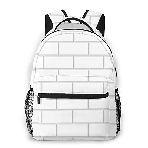 Computer Rucksack weiße Fliesen Hintergrund abgeschrägte weiße Backstein Männer und Frauen Casual Style Leinwand Rucksack Schultasche,