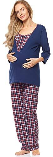 Be Mammy Damen Schlafanzug Stillpyjama V2R4N381 (Dunkelblau-2, 36 (Herstellergröße: S))