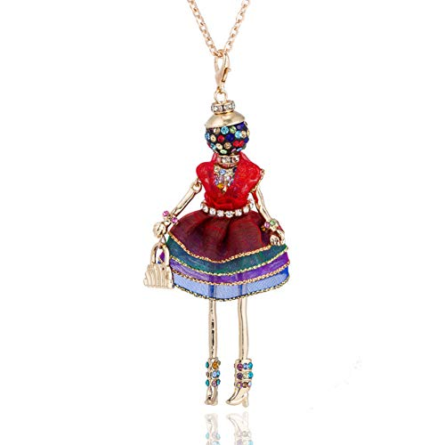 AISHIPING Bijoux Chic Longue Chaîne Collier De Poupée Femmes Filles Strass Cristal Charme Robe Doll Colliers Pendentifs