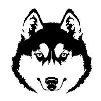 車のラベル ハスキー犬の頭のペット動物の車のステッカーアートの壁紙車の創造的なステッカー15cm * 14cm (Color : Black)