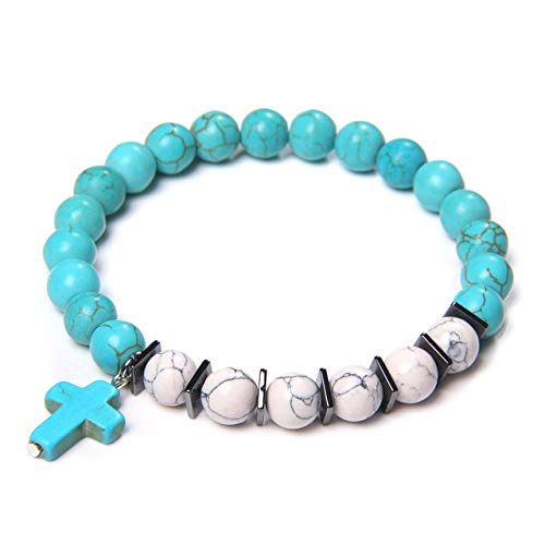 KEJI Cross Black Onyx Bracelet Natural Turquoises Stone Prayer Bracelet Round Lava Beads Couple Bracelet Women Men Yoga Charm Jewelry