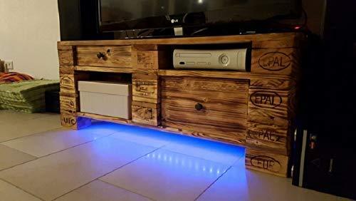 """Sideboard Palettenmöbel Lowboard """"Triest"""" aus Paletten geflammt mit LED Beleuchtung und Schublade"""