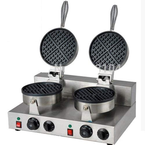 Double-head 110v Electric Round Classic Belgium Belgian Waffle Baker Maker Machine Iron Mold