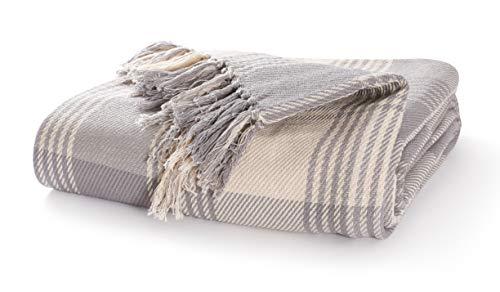 EHC Premium 100% Cotton Large 150 x 200 cm Tartan Throws for Sofa, Armchair Bedspread, Grey