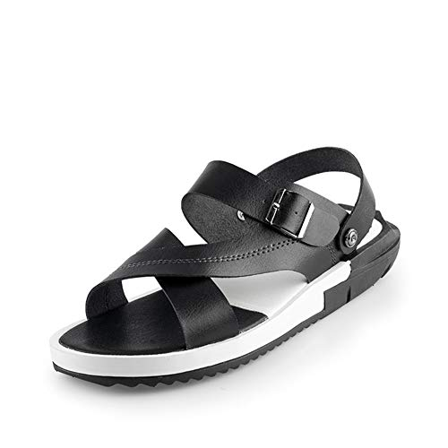 YuanBo Wu Summer Beach sandalen for mannen Water Slippers Slip op synthetisch leer Open Toe enkelband gesp sluiting (Color : White, Size : 40 EU)