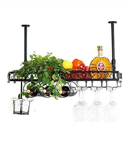 KDMB Portabottiglie da Parete Mango Steam con ripiano e Porta Bicchieri
