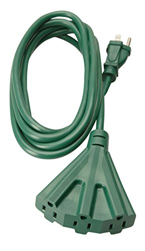 Woods 2466 Outdoor Tri-Tap Extension 3 Grounded, Waterproof Flexible Vinyl Jacket, Reinforced Blades, Ideal for Landscaping Lighting and Decoration, Cord, Green, 8 ft, 1-Outlet 8-Foot