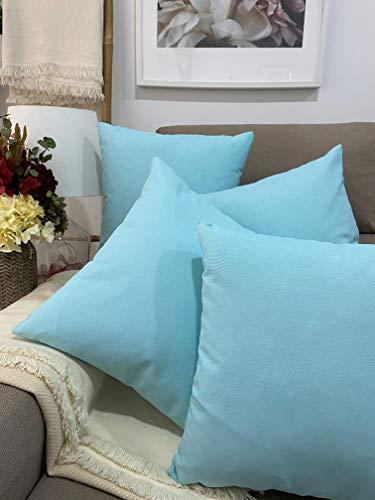 Pack 4 fundas de cojines para sofá EFECTO LINO suave, 16 COLORES fundas para almohada sin relleno, cojín decorativo grande para cama, salón. Almohadón elegante en varios tamaños.(Turquesa, 40x40cm)
