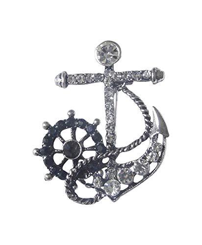 daenerys Brosche Anker Marine Silber Ruder Blau Steine