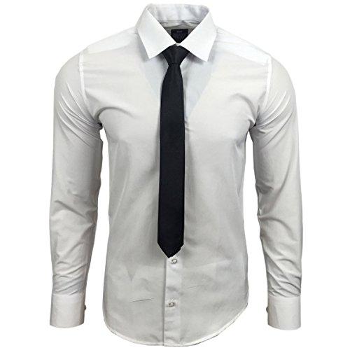 Rusty Neal R-55-KR Herren Slim Fit Uni Hemd Business Hemden mit Krawatte Hochzeit Freizeit, Farbe:Weiß, Größe:L