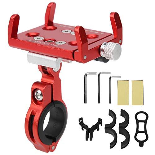 Bnineteenteam Soporte para teléfono para Bicicleta, GUB G-89 Soporte para teléfono móvil de aleación de Aluminio Soporte de navegación para cámara para Bicicleta Bicicleta Motocicleta eléctrica(Rojo)