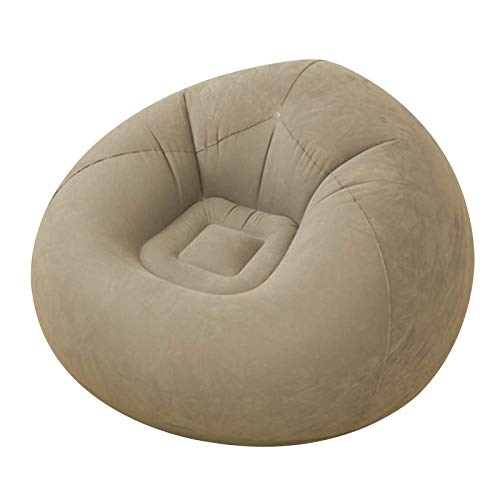 MOVKZACV Puf hinchable Beanless Bag Chair, silla con flocado plegable, sofá reclinable, adecuado para interiores y exteriores