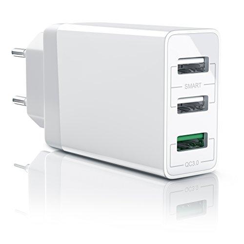 CSL-Computer 30W Caricabatterie da Muro - Quick Charge 3.0 Alimentatore Parete USB con 3 Porte - Adattatore di Ricarica Rapida - Tecnologia Smart Charge