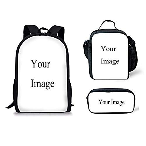 POLERO Customized Backpack 3pcs Set Casual Daypack Canvas Bookbags for Teen Girls Boys Lunch Box and Pencil Bag