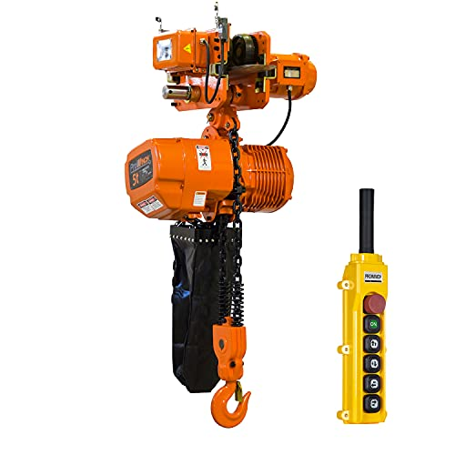 Prowinch 5 Ton Electric Chain Hoist with Electric Trolley Double Speed 30ft Lifting Height G100 Chain Water Resistant Pendant Control M4/H3 Duty Cycle 3 Phase 240/380/460V