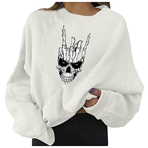 Lazzboy Sweatshirt Damen Oversized Halloween Totenkopf Druck Pullover Langarm Bedruckte Sweatshirts Für Lockerer Rundhalsausschnitt Langärmeliges Herbst Und Winter ( Weiß-Halloween,XL )