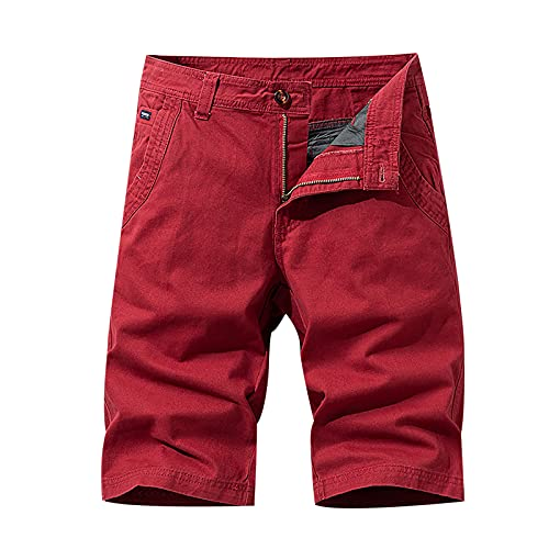 Casual 3/4 Capri Pants for Men Workout Gym Shorts Quick Dry Cargo Shorts Athletic Running Shorts with Mulit Pockets Red